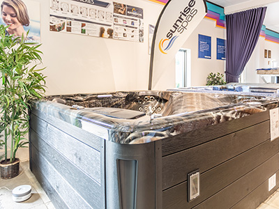 North Eastern Pools spas in showroom